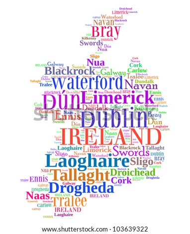 Ireland map and words cloud with larger cities - stock photo