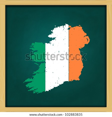 ireland map flag artwork  on high resolution green chalkboard