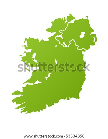 Ireland map in green, isolated on white background. - stock photo