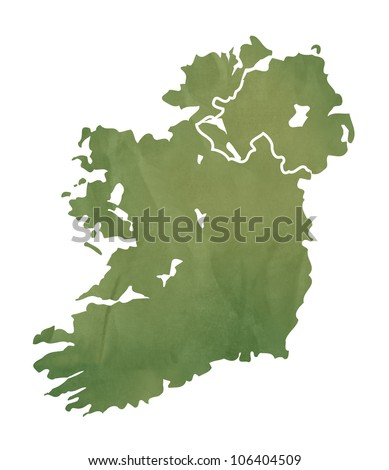 Ireland map in old green paper isolated on white background.
