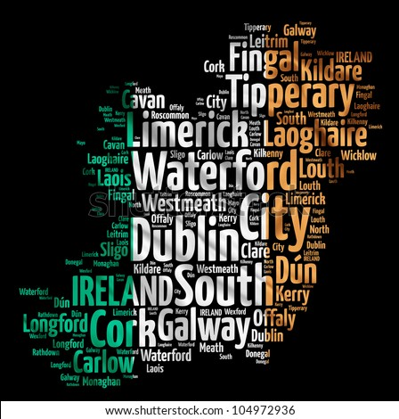 IRELAND map words cloud of major cities with a black background