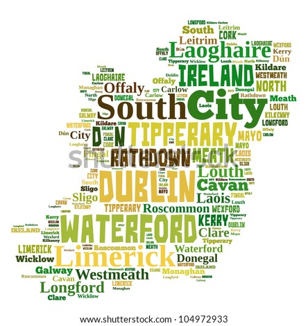IRELAND map words cloud of major cities with a white background