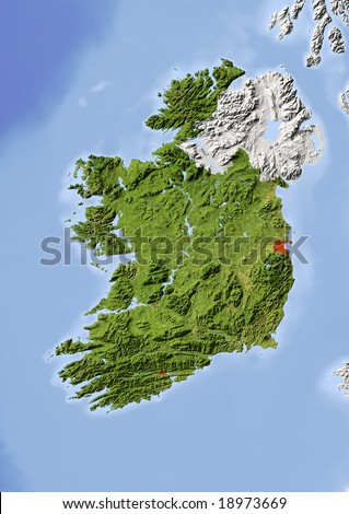 Ireland, Republic. Shaded relief map with major urban areas. Surrounding territory greyed out. Colored according to vegetation. Includes clip path for the state area. Data source: NASA