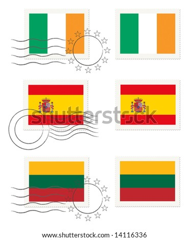 Ireland, Spain and Lithuania - flags on a stamp