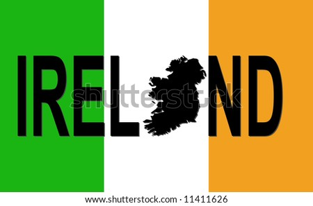 map of ireland in irish language. stock photo : Ireland text
