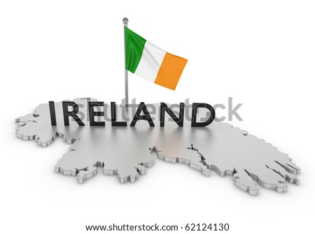 Ireland Tribute/Digitally rendered scene with flag and typography