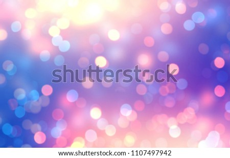 Iridescent glitter empty background. Pink blue lilac bokeh defocused texture. Confetti abstract template. Sparkles blur illustration. Christmas flicker decor.