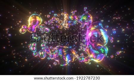 Iridescent Neon Rainbow Gradient Liquid Bubble Blobs Flowing Vortex 3D Rendering - Abstract Background Texture Stockfoto ©