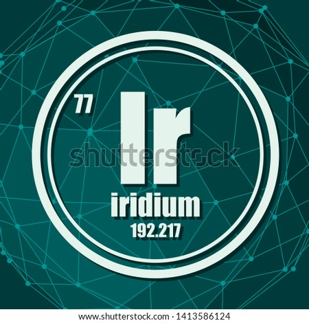 Iridium chemical element. Sign with atomic number and atomic weight. Chemical element of periodic table. Molecule And Communication Background. Connected lines with dots.