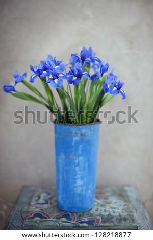 Iris flowers in a vase.