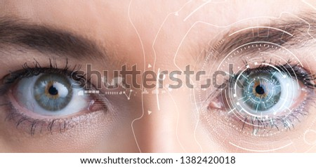 Iris recognition concept. Smart wearable eye-compatible computer #1382420018