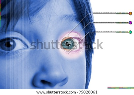 Iris scan, biometric scanning of eye retina for identification. Close-up of child pupil with high-tech graphic overlay