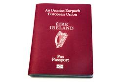 Irish and European passport identification document issued to irish citizens