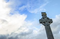 Irish Celtic cross in the blue sky