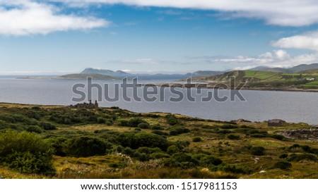 Irish coastline with ruins and islands, Ring of Beara, peninsula, Ireland, County Kerry and Cork, Europe