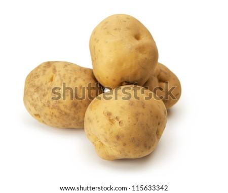 Irish Cobbler Potatoes isolated on white.