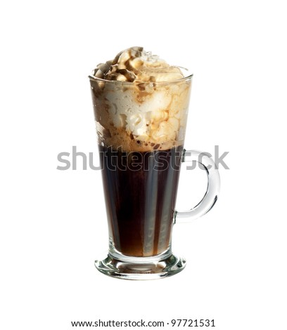Irish coffee cocktail isolated on white background.