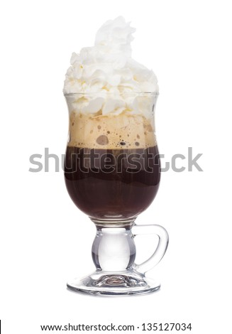 irish coffee in glass isolated on white background