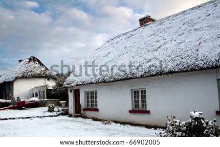 Irish cottage house at winter time