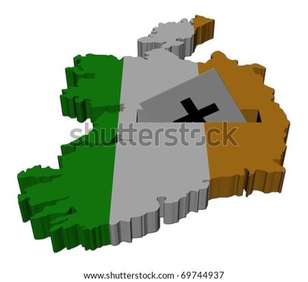 Irish election map of Ireland with ballot paper illustration