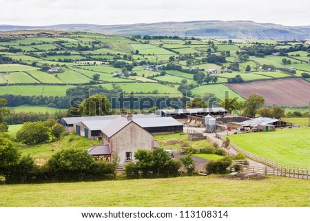 Irish farm in Northern Ireland with a mountain backdrop