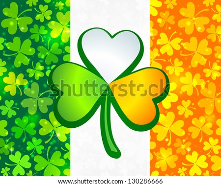 Irish flag background made from green and orange clovers with big clover on it. Raster illustration.