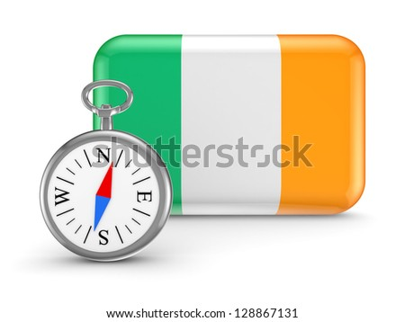 Irish flag.Isolated on white background.3d rendered.