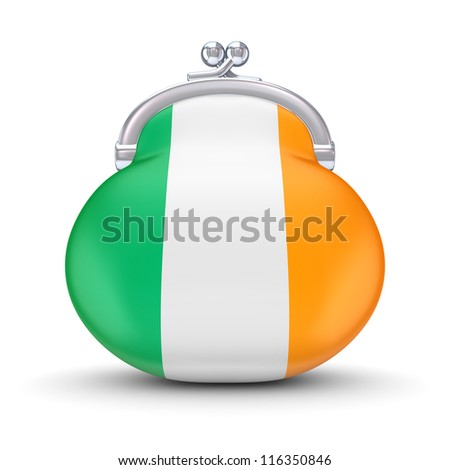 Irish flag on a wallet.Isolated on white background.3d rendered.