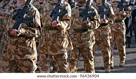 Irish Guards returning home from war, front view - stock photo