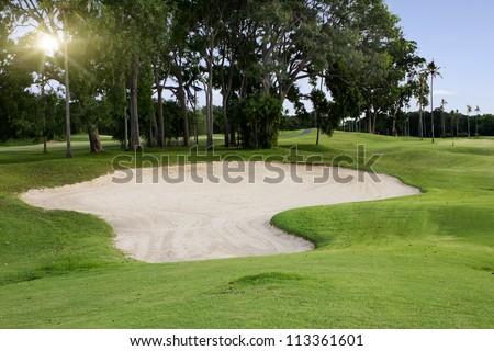 Irish idyllic golf course in summer time