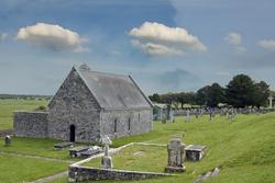 Irish landscape house and Celtic crosses