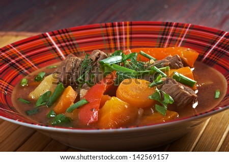 Irish stew farm-style  with tender lamb meat, potatoes and vegetables
