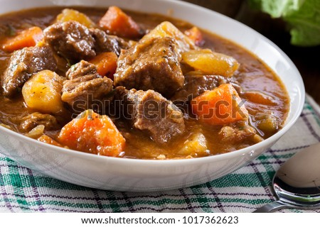 Irish stew made with beef, potatoes, carrots and herbs. Traditional  St patrick's day dish
