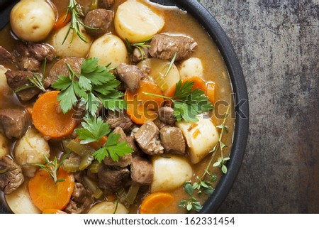 Irish stew, made with lamb, stout, potatoes, carrots and herbs. Stock photo ©