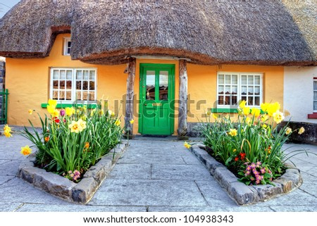 Irish traditional cottage house in Adare - Ireland.