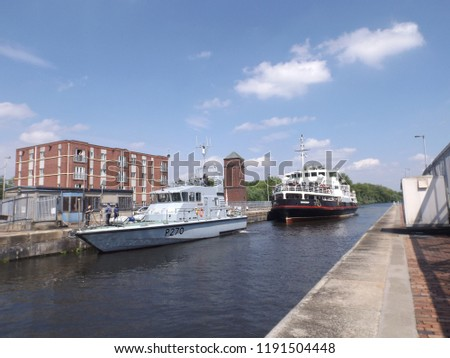 Irlam Salford Greater Manchester England 16th May 2014 Small training vessel on the Manchester Ship canal #1191504448
