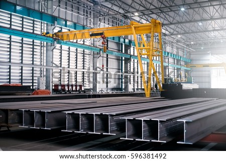 iron and steel in industrial warehouse