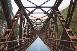 Iron bridge in Chiusaforte, Friuli-Venezia Giulia, Italy