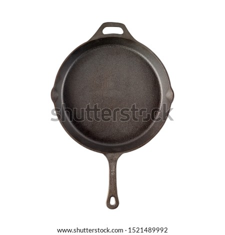 iron cast skillet, Cast-iron frying pan   isolated on perfect white background, stock photography