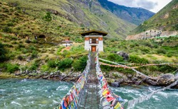 Iron Chain Bridge of Tamchog Lhakhang Monastery, Paro River, Bhutan