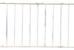 Iron fence is white isolated on white background with clipping path, Iron rail.