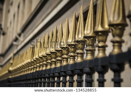 Iron fence with gold points in Paris, France