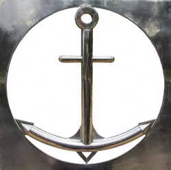 Iron frame in the form of a sea anchor on a white background