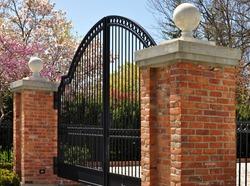 Iron gate and two masonry posts