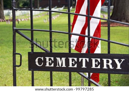 Iron gate leading into cemetery