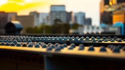 Iron girders and rivets used in the construction of the Sandridge Bridge that crosses the Yarra River in the center of Melbourne, Australia.