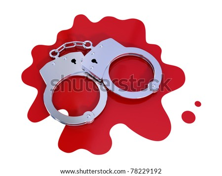 Iron handcuff on bloody stain.  Isolated on white. 3d rendered.