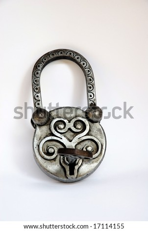 Iron handmade lock and key
