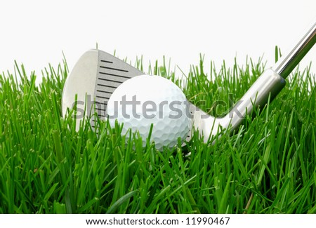 Iron hitting a golf ball out of the rough - stock photo