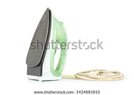 iron housework ironed electric tool clean white background. ironing steam housekeeping.